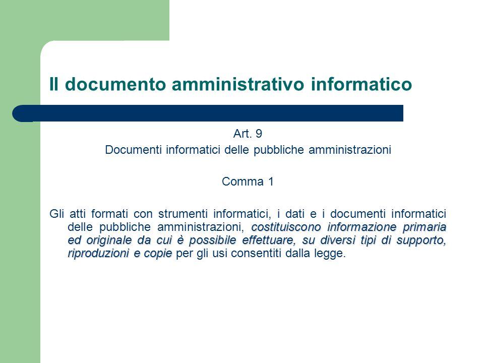 Il documento amministrativo informatico Art.