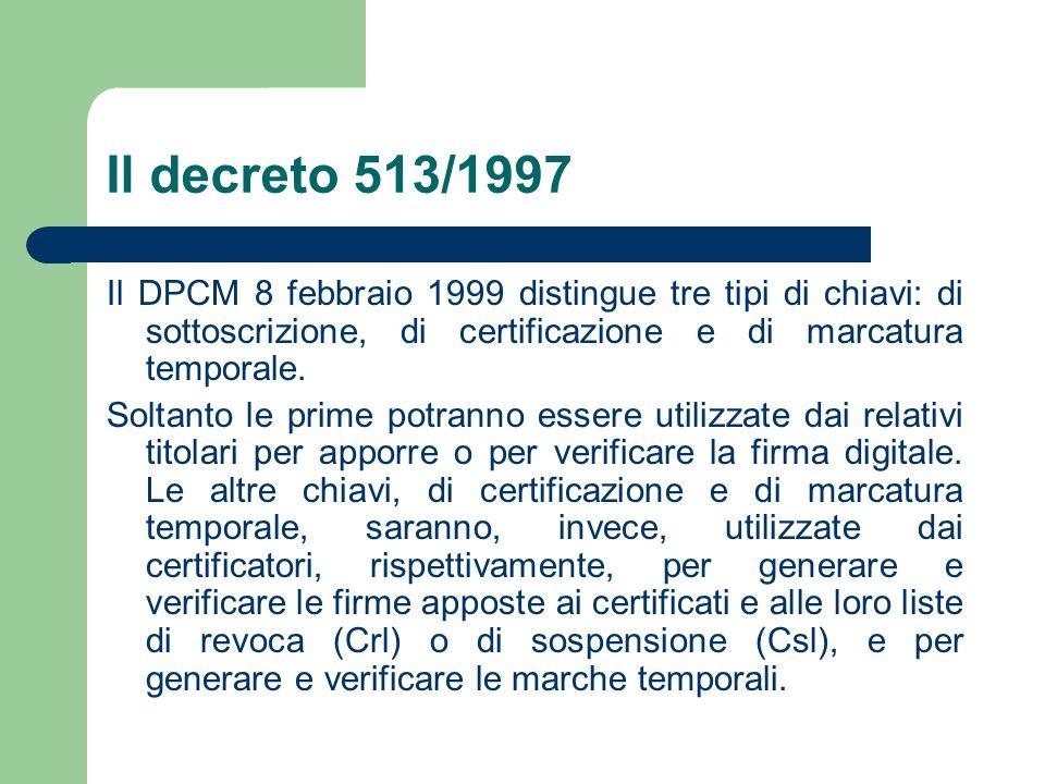 Il decreto 513/1997 Il DPCM 8 febbraio 1999 distingue tre tipi di chiavi: di sottoscrizione, di certificazione e di marcatura temporale.
