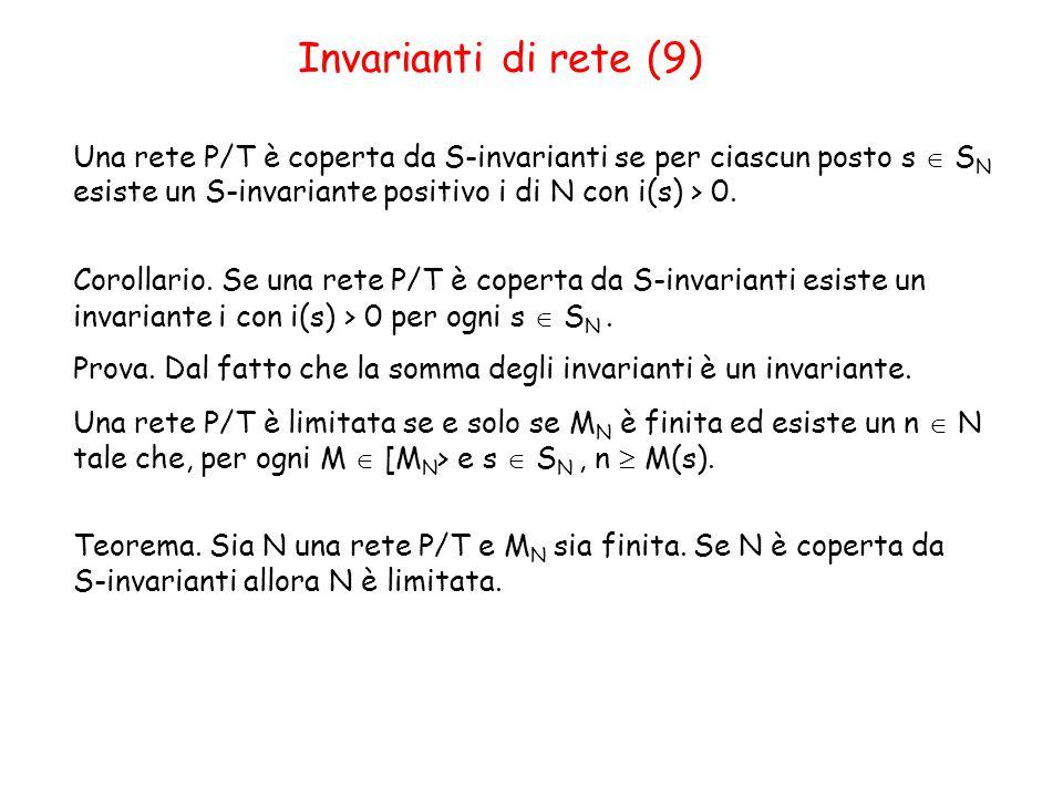 Invarianti di rete (9) Una rete P/T è coperta da S-invarianti se per ciascun posto s  S N esiste un S-invariante positivo i di N con i(s) > 0.