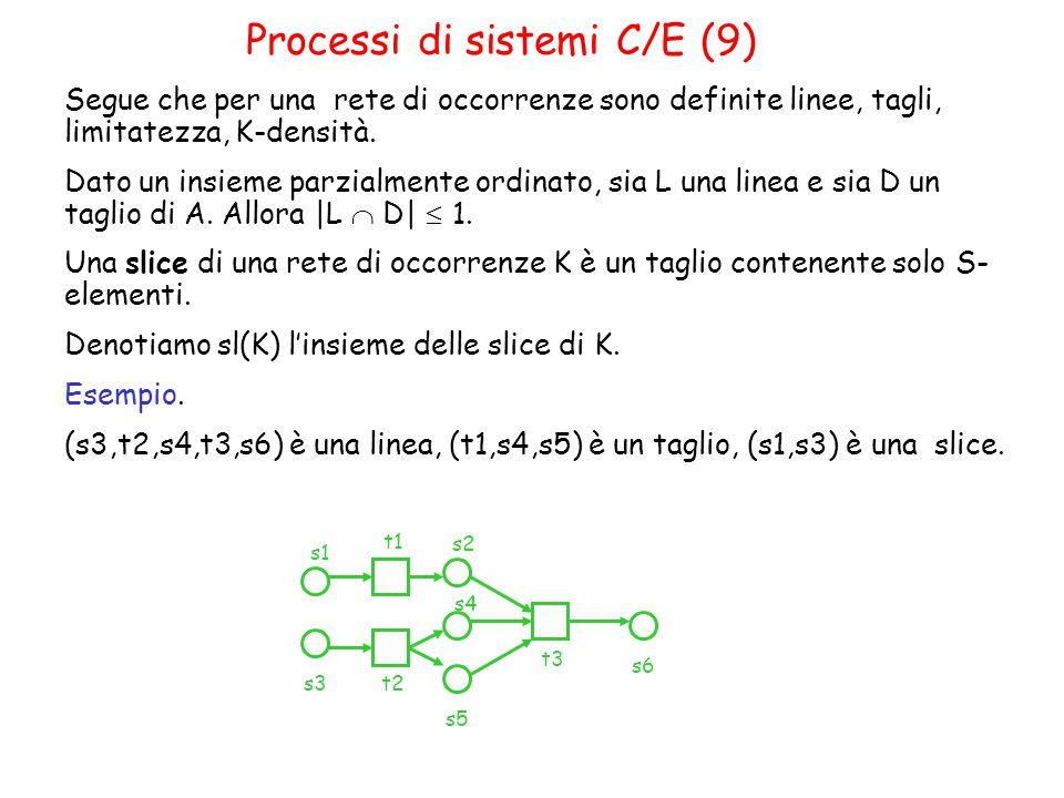 Segue che per una rete di occorrenze sono definite linee, tagli, limitatezza, K-densità.