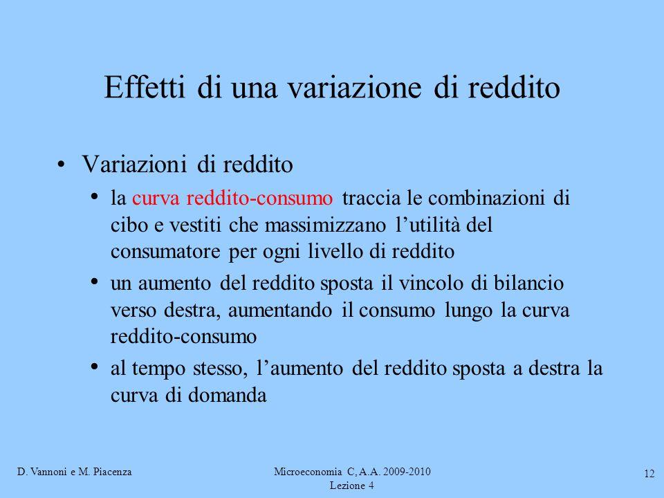 D. Vannoni e M. PiacenzaMicroeconomia C, A.A. 2009-2010 Lezione 4 12 Effetti di una variazione di reddito Variazioni di reddito la curva reddito-consu