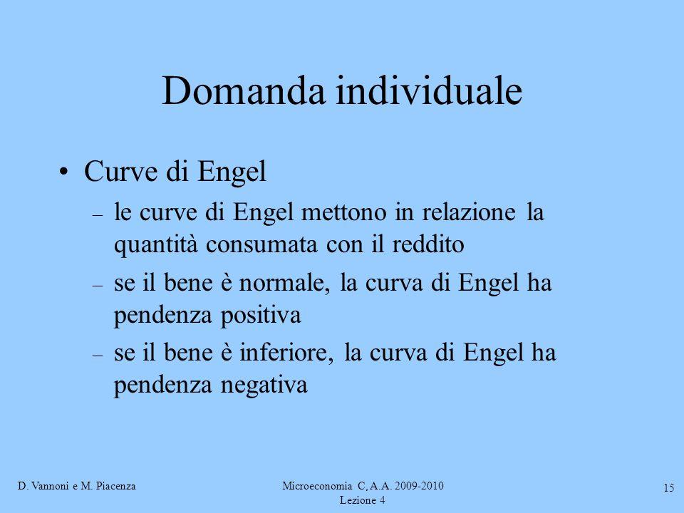 D. Vannoni e M. PiacenzaMicroeconomia C, A.A. 2009-2010 Lezione 4 15 Domanda individuale Curve di Engel – le curve di Engel mettono in relazione la qu