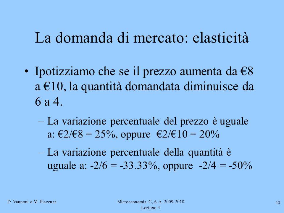 D. Vannoni e M. PiacenzaMicroeconomia C, A.A. 2009-2010 Lezione 4 40 La domanda di mercato: elasticità Ipotizziamo che se il prezzo aumenta da €8 a €1