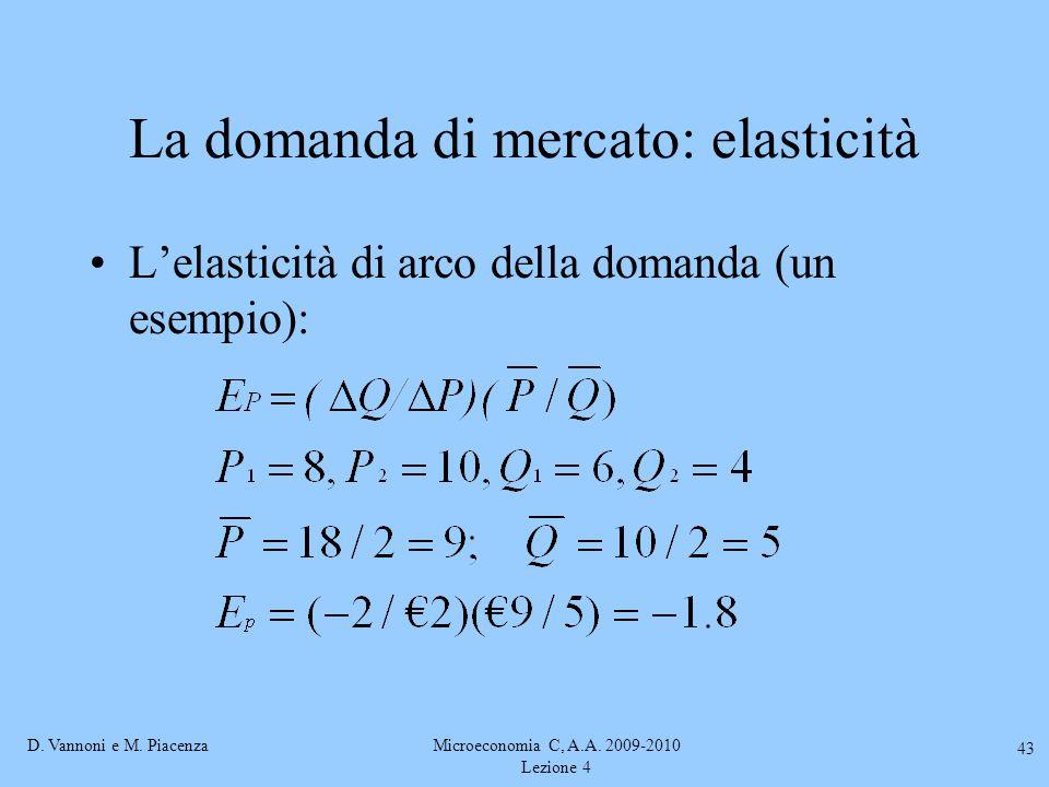 D. Vannoni e M. PiacenzaMicroeconomia C, A.A. 2009-2010 Lezione 4 43 La domanda di mercato: elasticità L'elasticità di arco della domanda (un esempio)