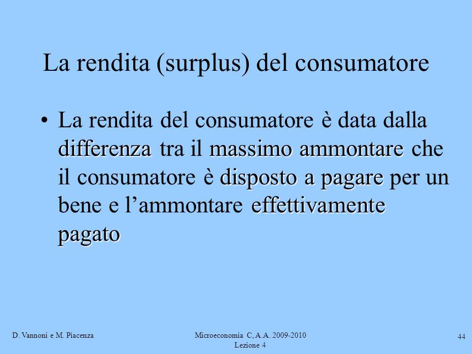 D. Vannoni e M. PiacenzaMicroeconomia C, A.A. 2009-2010 Lezione 4 44 La rendita (surplus) del consumatore differenzamassimo ammontare disposto a pagar