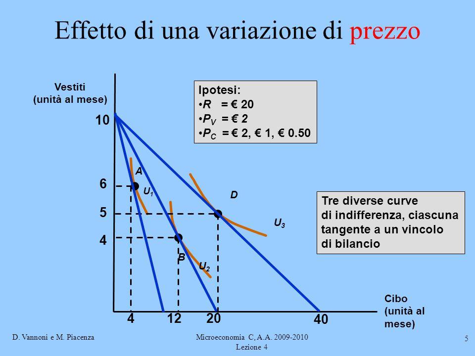 D. Vannoni e M. PiacenzaMicroeconomia C, A.A. 2009-2010 Lezione 4 5 Effetto di una variazione di prezzo 4 5 6 U2U2 U3U3 A B D U1U1 41220 10 Ipotesi: R