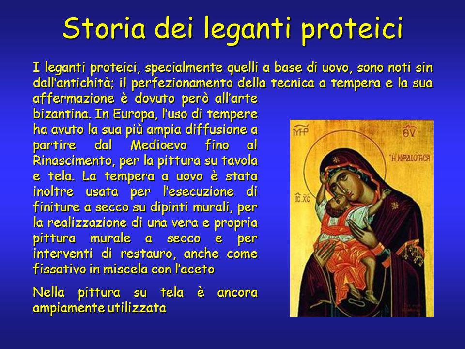 Storia dei leganti proteici I leganti proteici, specialmente quelli a base di uovo, sono noti sin dall'antichità; il perfezionamento della tecnica a tempera e la sua affermazione è dovuto però all'arte bizantina.