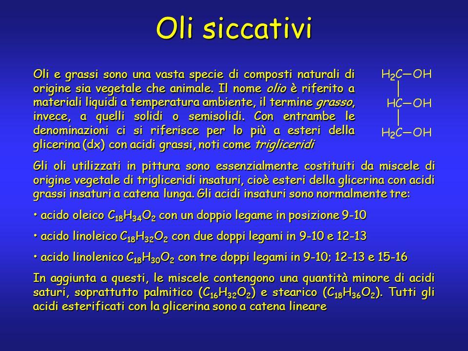 Oli siccativi Oli e grassi sono una vasta specie di composti naturali di origine sia vegetale che animale. Il nome olio è riferito a materiali liquidi