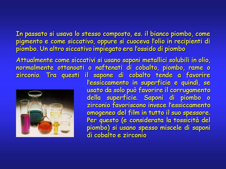 In passato si usava lo stesso composto, es. il bianco piombo, come pigmento e come siccativo, oppure si cuoceva l'olio in recipienti di piombo. Un alt