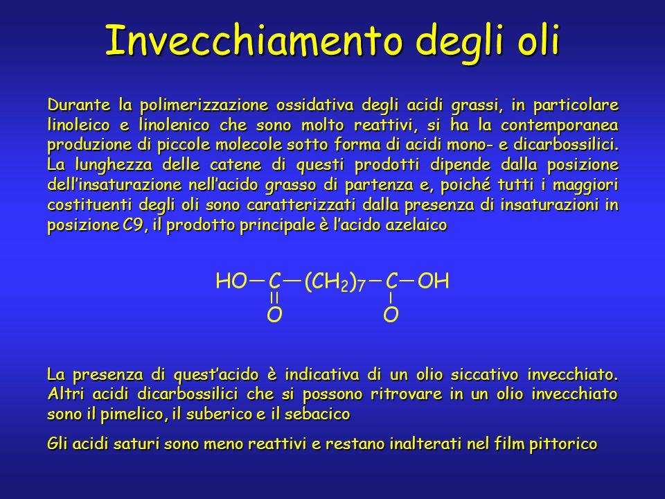 Invecchiamento degli oli Durante la polimerizzazione ossidativa degli acidi grassi, in particolare linoleico e linolenico che sono molto reattivi, si ha la contemporanea produzione di piccole molecole sotto forma di acidi mono- e dicarbossilici.