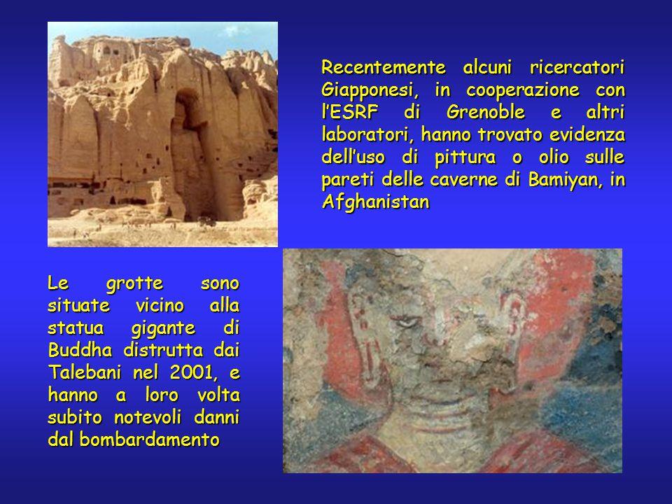 Recentemente alcuni ricercatori Giapponesi, in cooperazione con l'ESRF di Grenoble e altri laboratori, hanno trovato evidenza dell'uso di pittura o olio sulle pareti delle caverne di Bamiyan, in Afghanistan Le grotte sono situate vicino alla statua gigante di Buddha distrutta dai Talebani nel 2001, e hanno a loro volta subito notevoli danni dal bombardamento