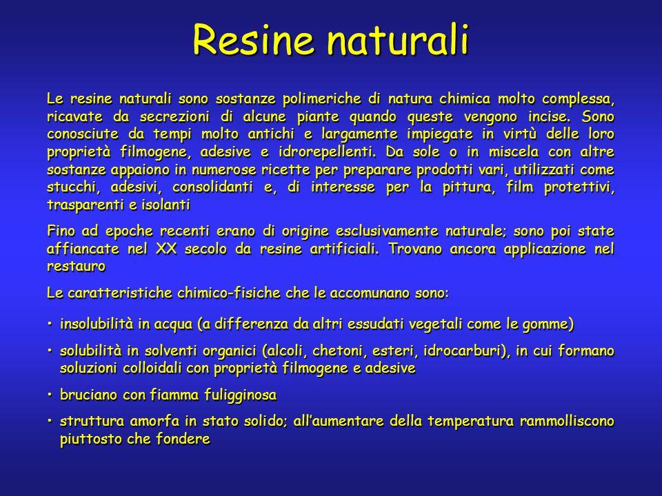Resine naturali Le resine naturali sono sostanze polimeriche di natura chimica molto complessa, ricavate da secrezioni di alcune piante quando queste