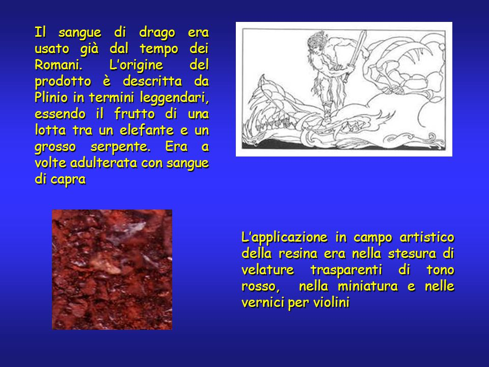 Il sangue di drago era usato già dal tempo dei Romani. L'origine del prodotto è descritta da Plinio in termini leggendari, essendo il frutto di una lo
