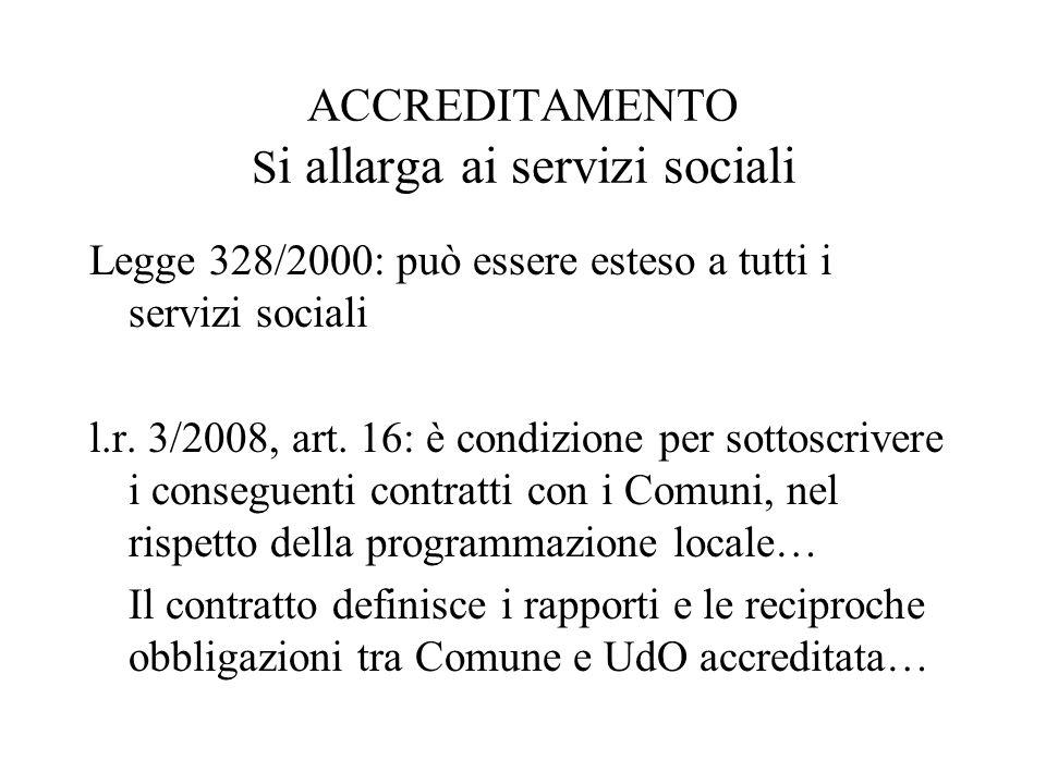 ACCREDITAMENTO S i allarga ai servizi sociali Legge 328/2000: può essere esteso a tutti i servizi sociali l.r.
