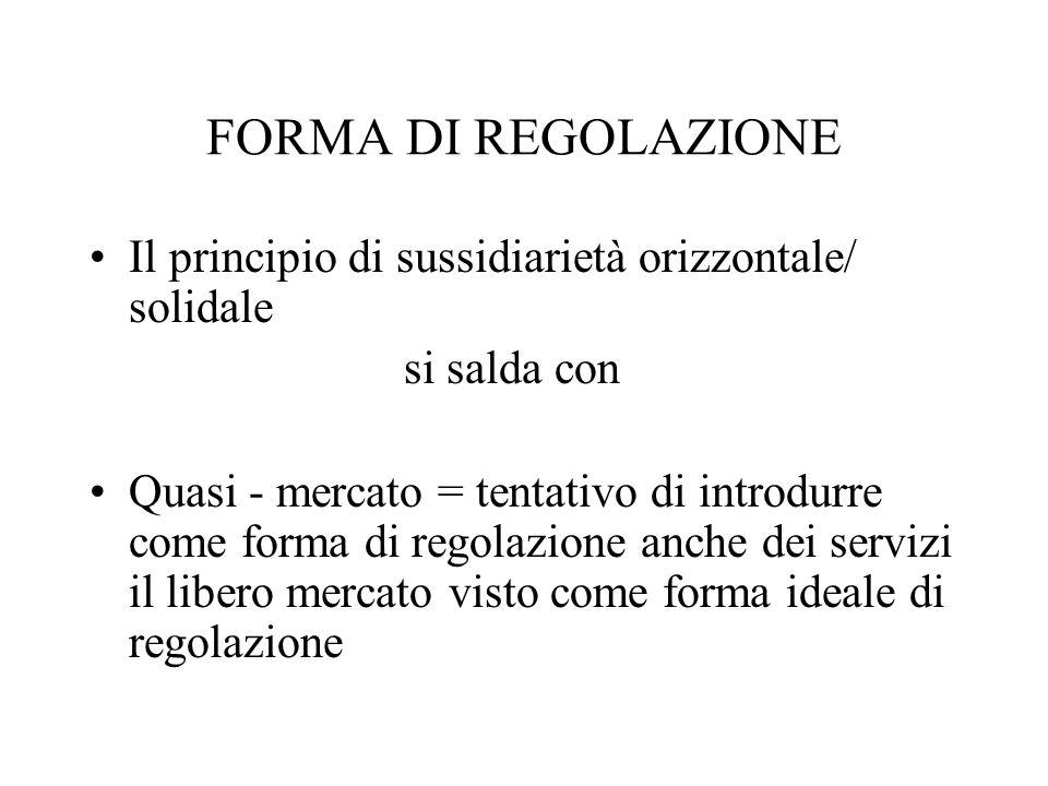 FORMA DI REGOLAZIONE Il principio di sussidiarietà orizzontale/ solidale si salda con Quasi - mercato = tentativo di introdurre come forma di regolazione anche dei servizi il libero mercato visto come forma ideale di regolazione