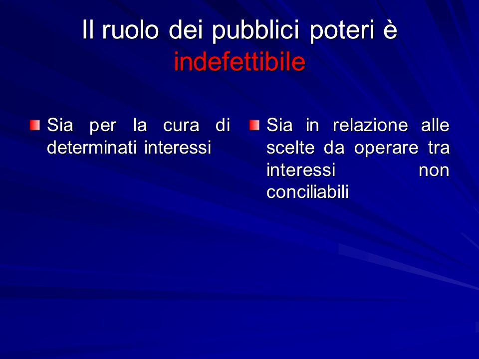 Il ruolo dei pubblici poteri è indefettibile Sia per la cura di determinati interessi Sia in relazione alle scelte da operare tra interessi non conciliabili