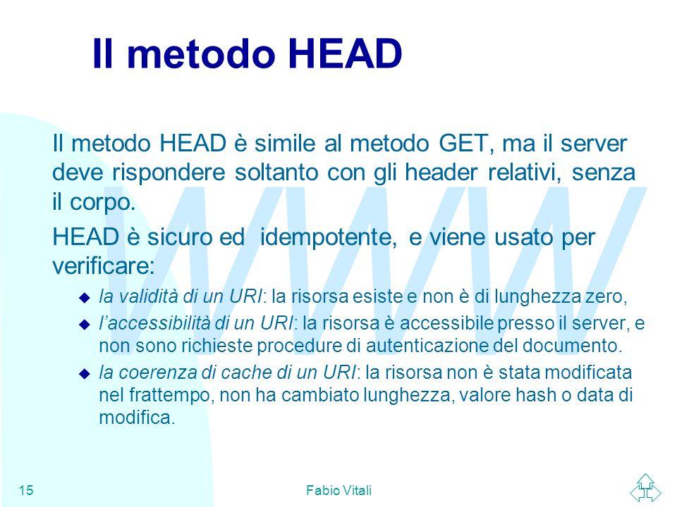 WWW Fabio Vitali15 Il metodo HEAD Il metodo HEAD è simile al metodo GET, ma il server deve rispondere soltanto con gli header relativi, senza il corpo