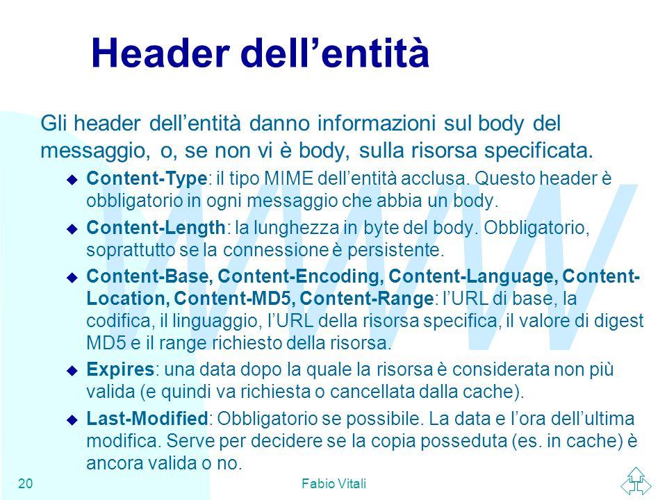 WWW Fabio Vitali20 Header dell'entità Gli header dell'entità danno informazioni sul body del messaggio, o, se non vi è body, sulla risorsa specificata