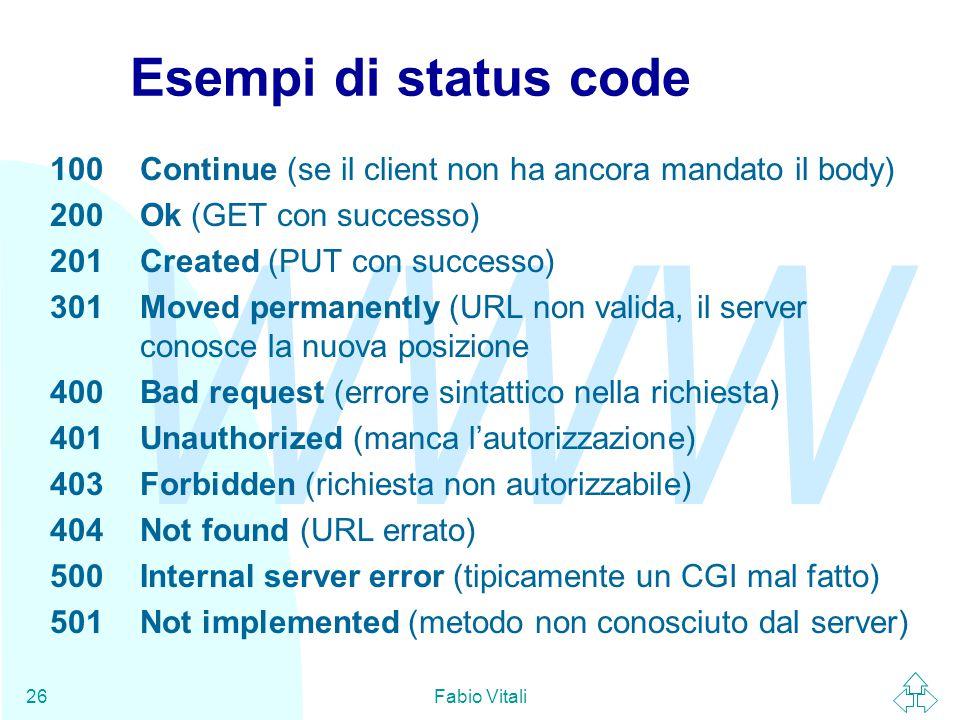 WWW Fabio Vitali26 Esempi di status code 100Continue (se il client non ha ancora mandato il body) 200Ok (GET con successo) 201Created (PUT con success