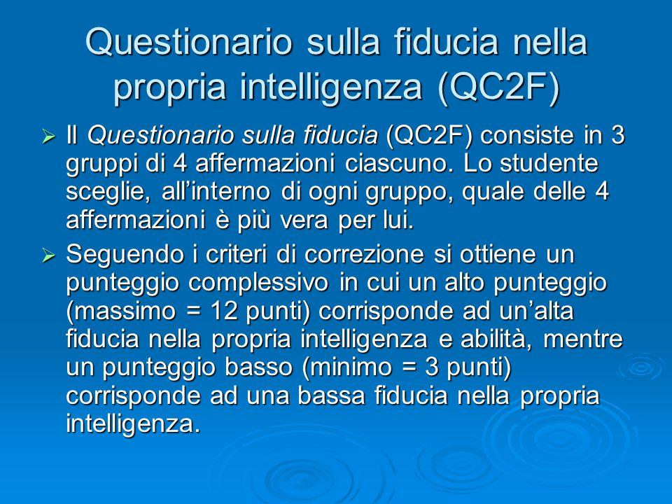  Il Questionario sulla fiducia (QC2F) consiste in 3 gruppi di 4 affermazioni ciascuno. Lo studente sceglie, all'interno di ogni gruppo, quale delle 4