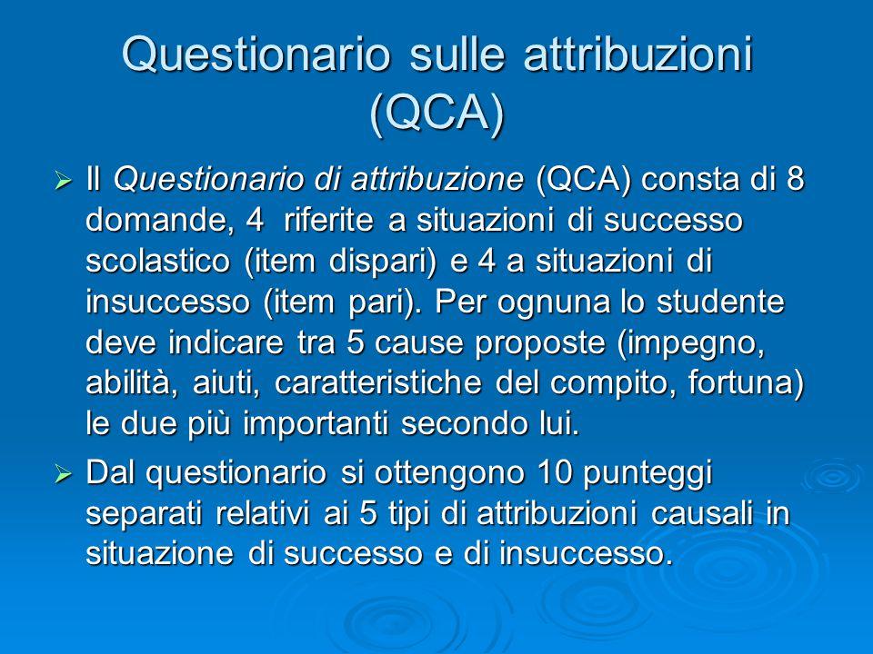  Il Questionario di attribuzione (QCA) consta di 8 domande, 4 riferite a situazioni di successo scolastico (item dispari) e 4 a situazioni di insuccesso (item pari).