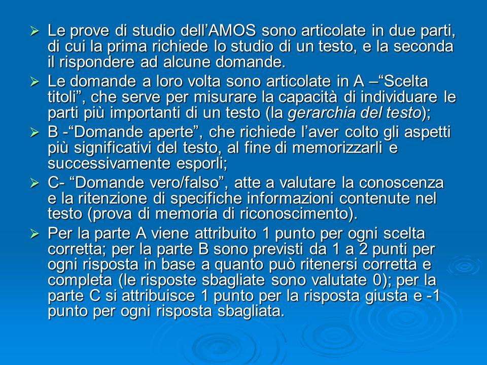  Le prove di studio dell'AMOS sono articolate in due parti, di cui la prima richiede lo studio di un testo, e la seconda il rispondere ad alcune domande.