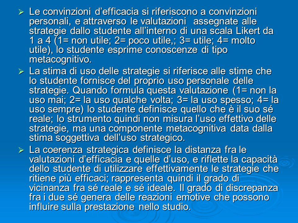  Le convinzioni d'efficacia si riferiscono a convinzioni personali, e attraverso le valutazioni assegnate alle strategie dallo studente all'interno d