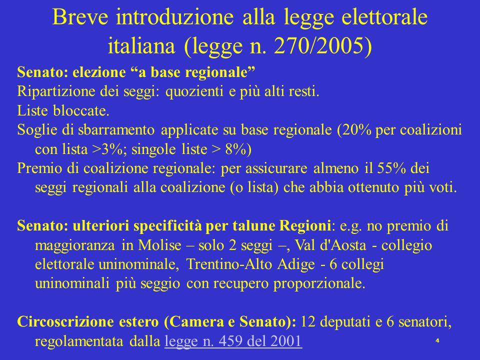 3 Camera: il premio di maggioranza: se la coalizione (o la singola lista) che ha ottenuto il maggior numero di voti validi ha < 340 seggi (55% del totale).