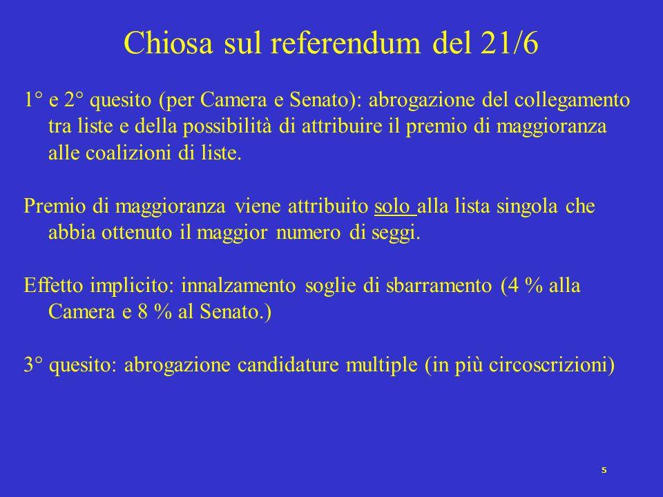 5 1° e 2° quesito (per Camera e Senato): abrogazione del collegamento tra liste e della possibilità di attribuire il premio di maggioranza alle coalizioni di liste.