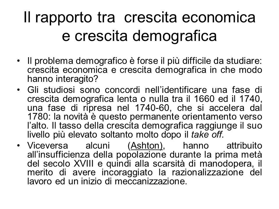 Il rapporto tra crescita economica e crescita demografica Il problema demografico è forse il più difficile da studiare: crescita economica e crescita demografica in che modo hanno interagito.