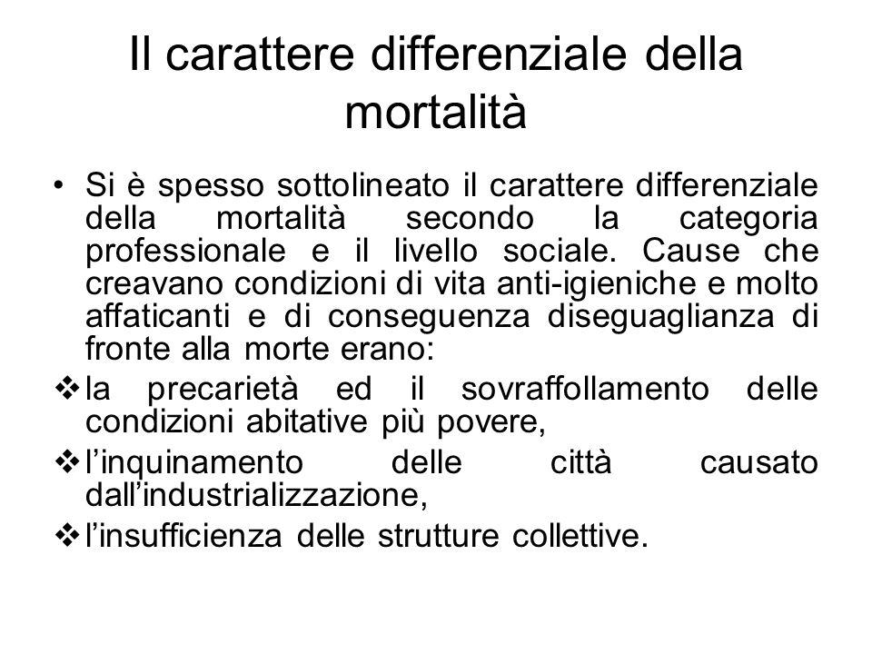 Il carattere differenziale della mortalità Si è spesso sottolineato il carattere differenziale della mortalità secondo la categoria professionale e il livello sociale.