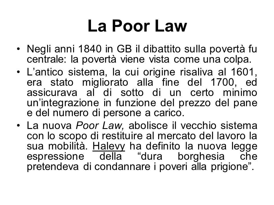 La Poor Law Negli anni 1840 in GB il dibattito sulla povertà fu centrale: la povertà viene vista come una colpa. L'antico sistema, la cui origine risa
