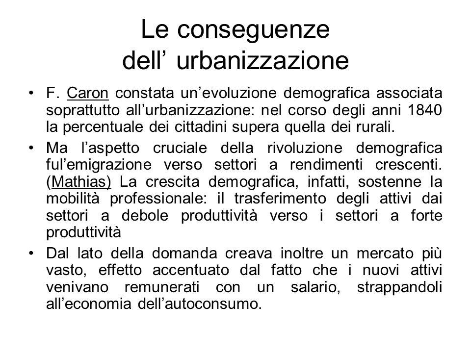 Le conseguenze dell' urbanizzazione F. Caron constata un'evoluzione demografica associata soprattutto all'urbanizzazione: nel corso degli anni 1840 la