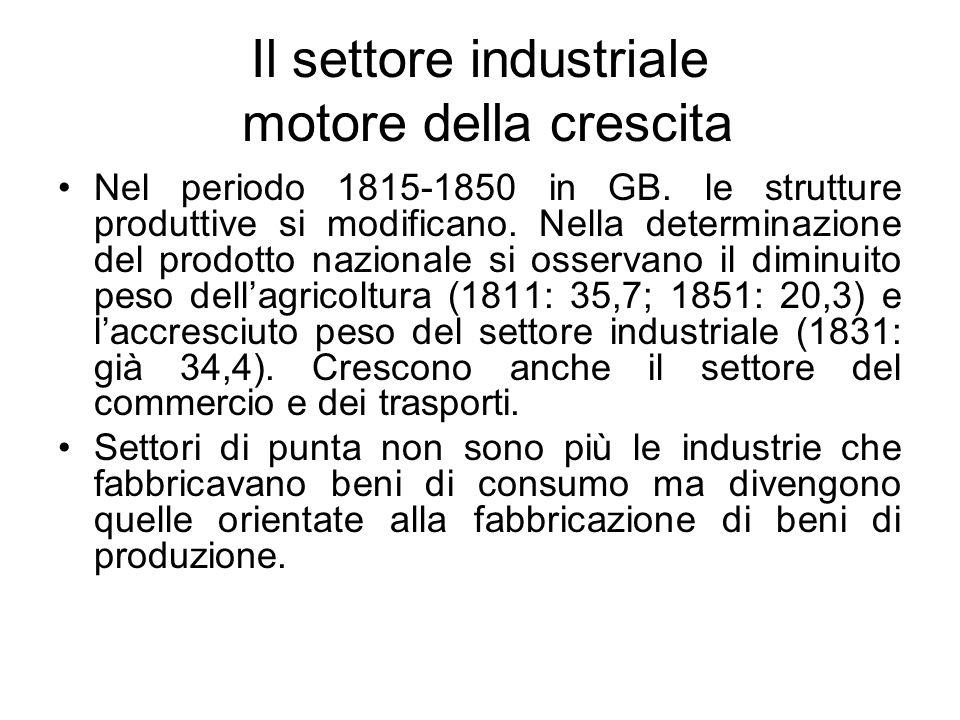 Il settore industriale motore della crescita Nel periodo 1815-1850 in GB. le strutture produttive si modificano. Nella determinazione del prodotto naz