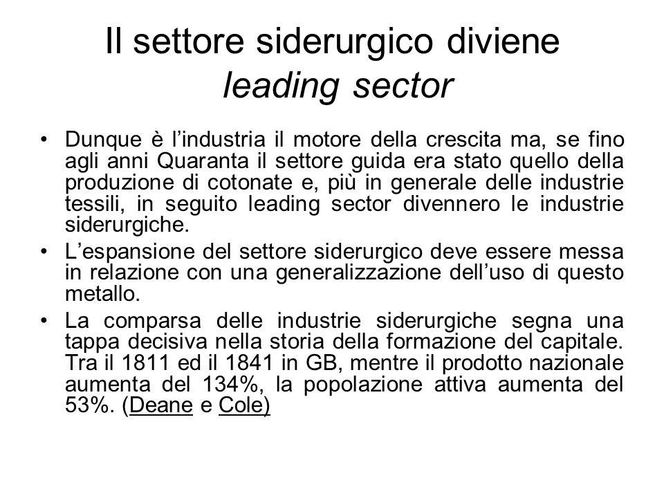 Il settore siderurgico diviene leading sector Dunque è l'industria il motore della crescita ma, se fino agli anni Quaranta il settore guida era stato quello della produzione di cotonate e, più in generale delle industrie tessili, in seguito leading sector divennero le industrie siderurgiche.