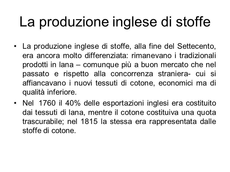 La produzione inglese di stoffe La produzione inglese di stoffe, alla fine del Settecento, era ancora molto differenziata: rimanevano i tradizionali p
