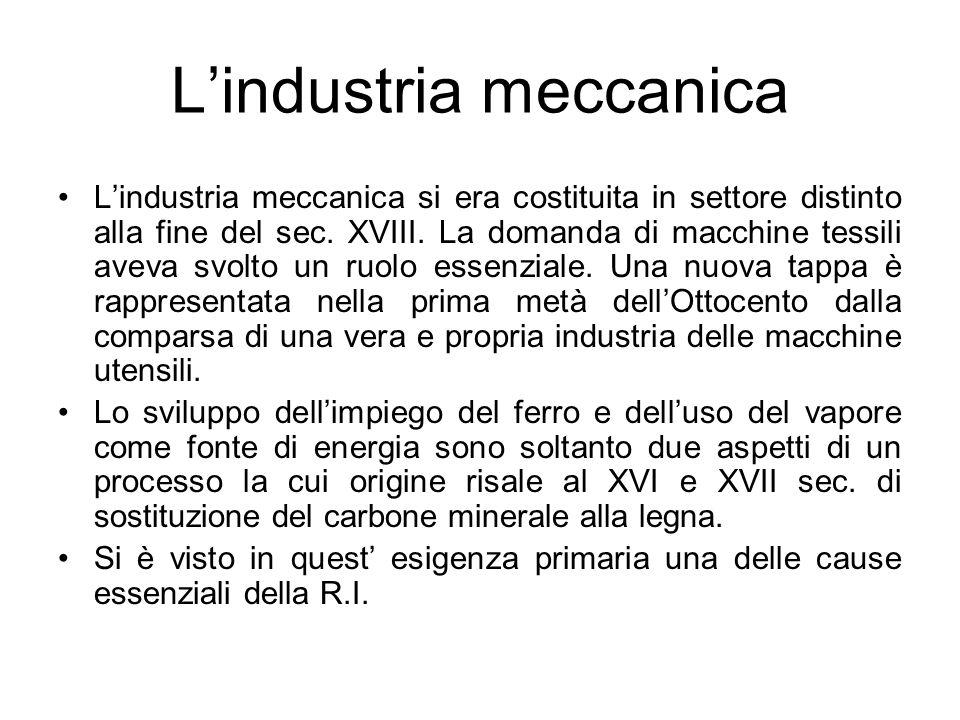 L'industria meccanica L'industria meccanica si era costituita in settore distinto alla fine del sec. XVIII. La domanda di macchine tessili aveva svolt