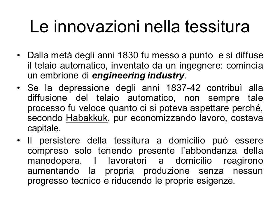 Le innovazioni nella tessitura Dalla metà degli anni 1830 fu messo a punto e si diffuse il telaio automatico, inventato da un ingegnere: comincia un embrione di engineering industry.
