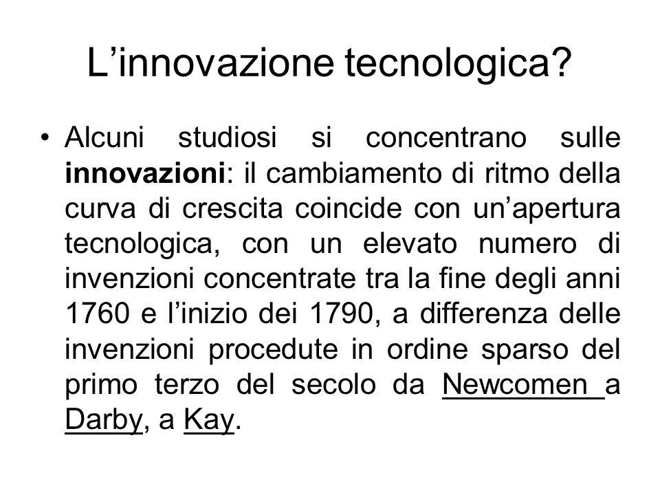 L'innovazione tecnologica? Alcuni studiosi si concentrano sulle innovazioni: il cambiamento di ritmo della curva di crescita coincide con un'apertura