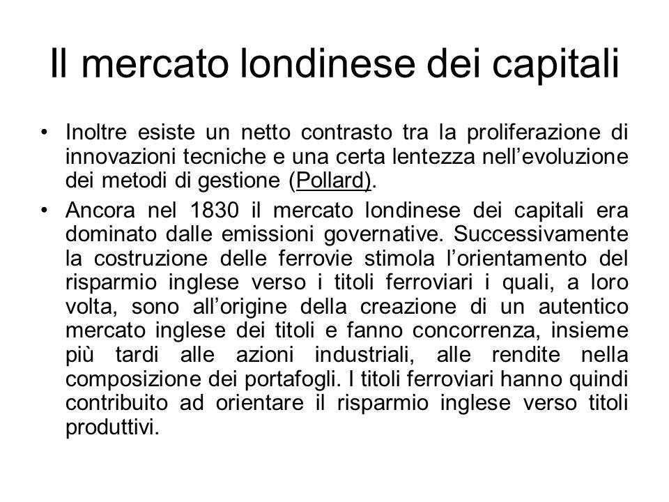 Il mercato londinese dei capitali Inoltre esiste un netto contrasto tra la proliferazione di innovazioni tecniche e una certa lentezza nell'evoluzione dei metodi di gestione (Pollard).
