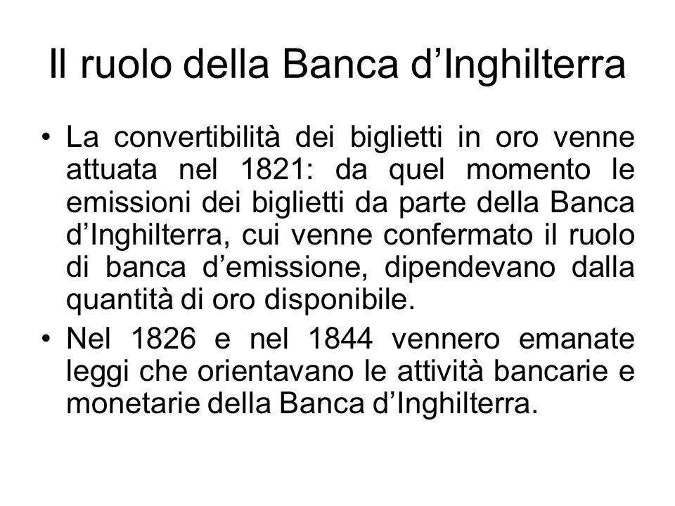 Il ruolo della Banca d'Inghilterra La convertibilità dei biglietti in oro venne attuata nel 1821: da quel momento le emissioni dei biglietti da parte