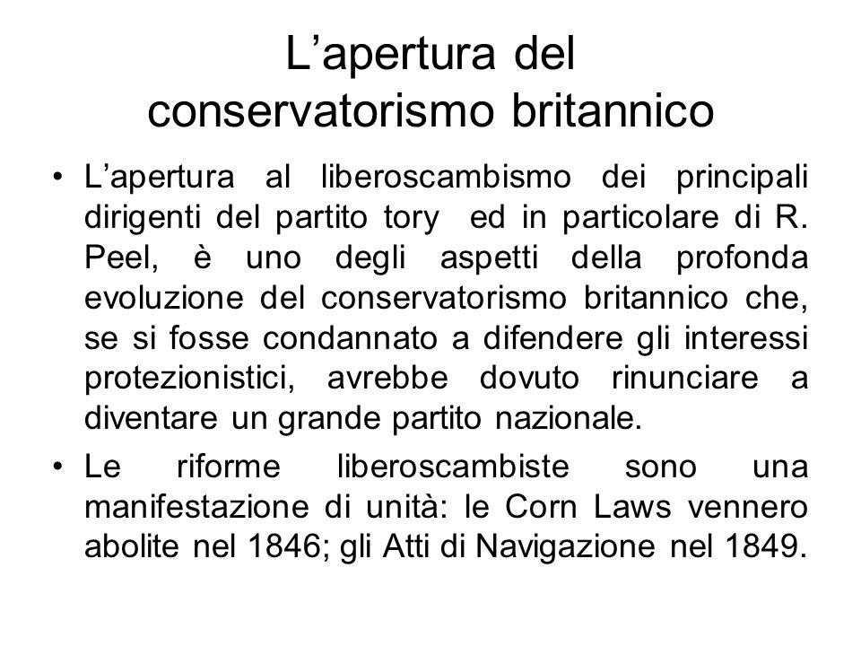 L'apertura del conservatorismo britannico L'apertura al liberoscambismo dei principali dirigenti del partito tory ed in particolare di R. Peel, è uno