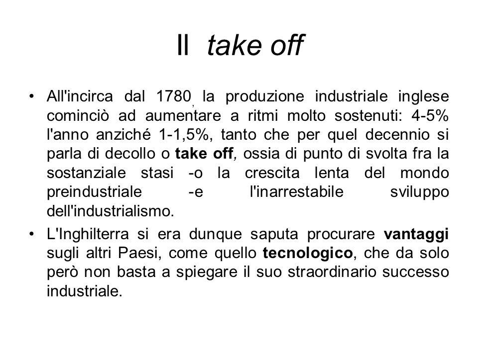 Il take off All'incirca dal 1780, la produzione industriale inglese cominciò ad aumentare a ritmi molto sostenuti: 4-5% l'anno anziché 1-1,5%, tanto c