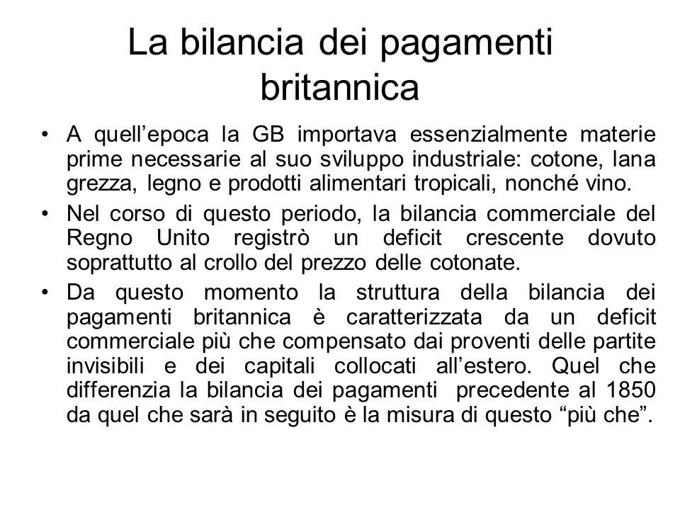 La bilancia dei pagamenti britannica A quell'epoca la GB importava essenzialmente materie prime necessarie al suo sviluppo industriale: cotone, lana g