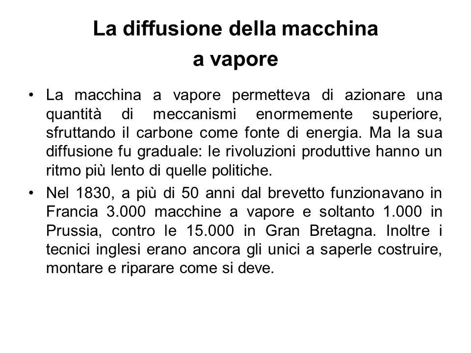 La diffusione della macchina a vapore La macchina a vapore permetteva di azionare una quantità di meccanismi enormemente superiore, sfruttando il carbone come fonte di energia.