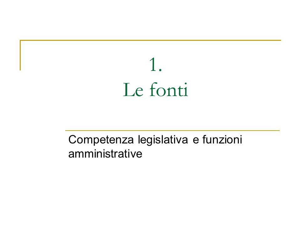 1. Le fonti Competenza legislativa e funzioni amministrative