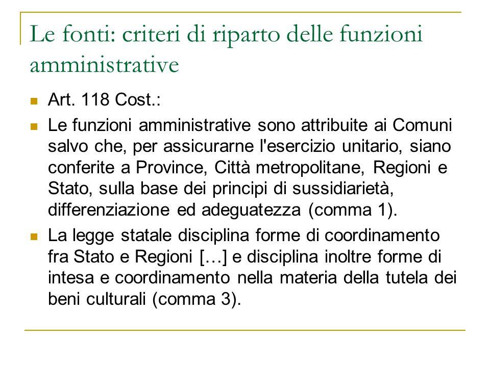 Le fonti: criteri di riparto delle funzioni amministrative Art. 118 Cost.: Le funzioni amministrative sono attribuite ai Comuni salvo che, per assicur