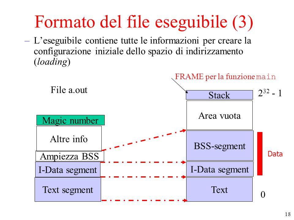 18 Formato del file eseguibile (3) –L'eseguibile contiene tutte le informazioni per creare la configurazione iniziale dello spazio di indirizzamento (loading) Text I-Data segment Stack Area vuota 0 2 32 - 1 BSS-segment Text segment I-Data segment Ampiezza BSS Altre info Magic number File a.out Data FRAME per la funzione main