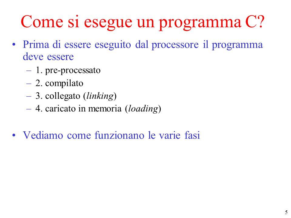 26 Compilazione separata Tipicamente : define/include variabili globali typedef main def F1 … def Fk prototipi F1..Fk glob.h prototipi Fk+1..FN main.c fun_toK.c def Fk+1 … def FN fun_toK.h fun_toN.c fun_1toN.h