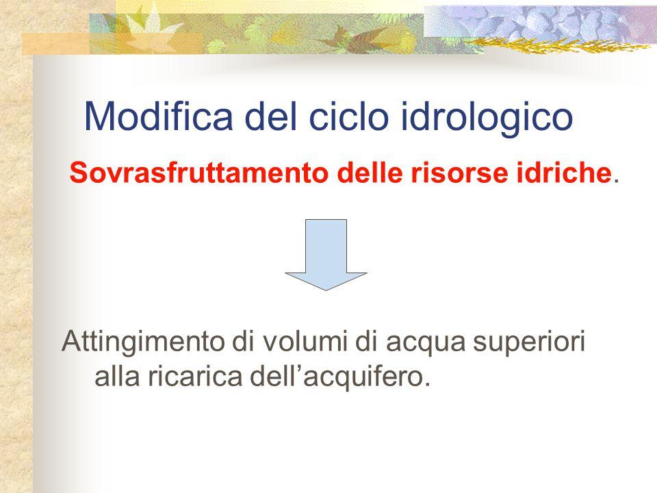 Modifica del ciclo idrologico Sovrasfruttamento delle risorse idriche.